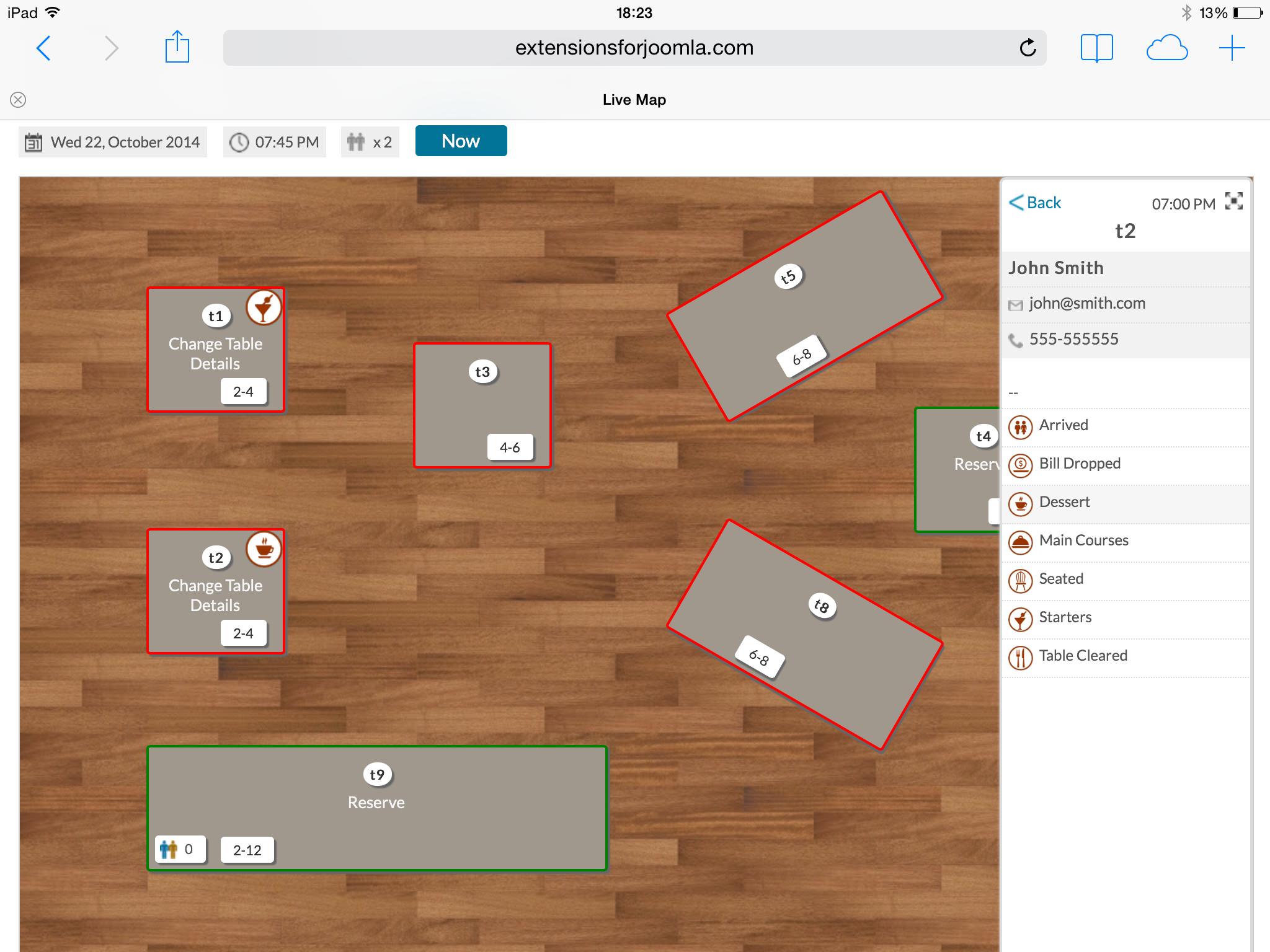 Vik Restaurants Joomla Share - Restaurant table map